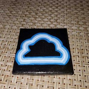 """Hand-Painted 3"""" x 3"""" Neon Cloud Magnet"""